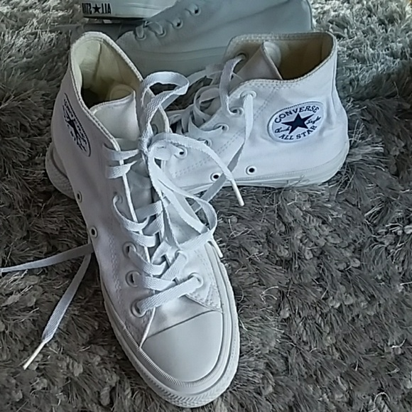 31146ed47102 Converse Shoes - All white Converse Chuck Taylor II Lunarlon hi top